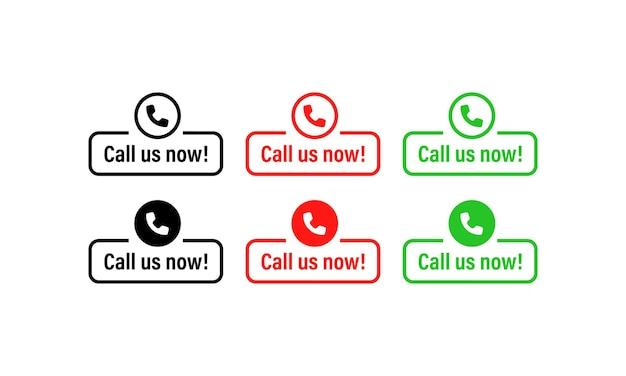 Chiamaci ora set di icone. tecnologie dell'informazione. chiamaci ora banner, pulsante. icona del telefono. assistenza clienti. vettore eps 10. isolato su sfondo bianco