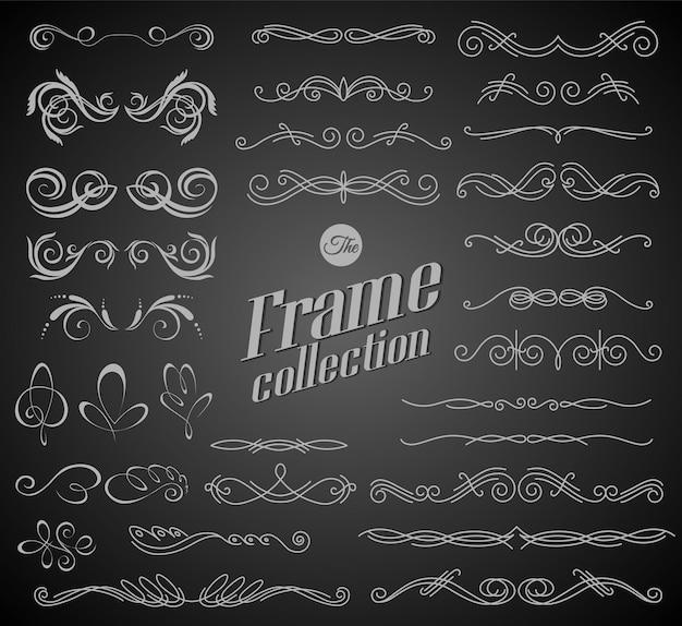 Elementi calligrafici di disegno sul disegno del fondo della lavagna