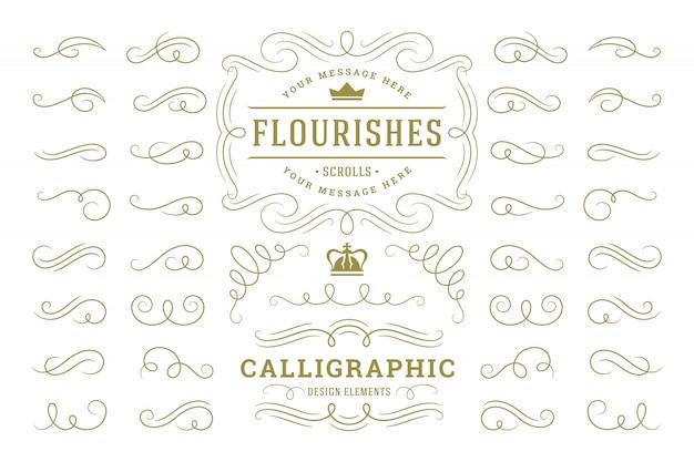 Elementi di disegno calligrafico ornamenti vintage turbinii e pergamene decorazioni ornati elementi di design vettoriale
