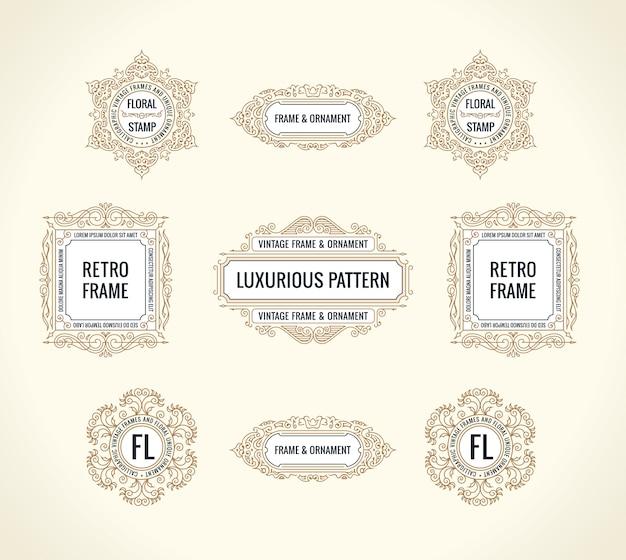 Set di elementi calligrafici e cornici d'epoca