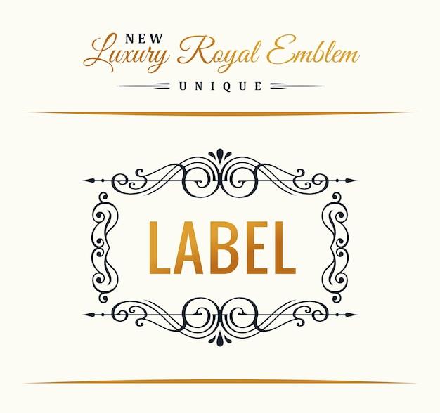 Design del logo vintage con cornice calligrafica in oro per menu