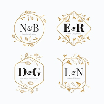 Loghi monogramma calligrafici di nozze d'oro