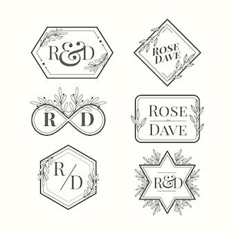Logo monogramma di matrimonio calligrafico