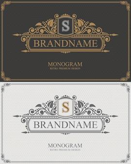 Intestazione di calligrafia con lettera iniziale, monogramma tipografico del marchio.