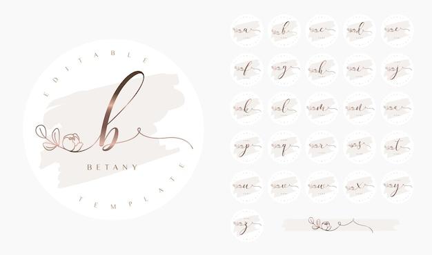 Logo calligrafico con lettere dell'alfabeto e disegno floreale ornato