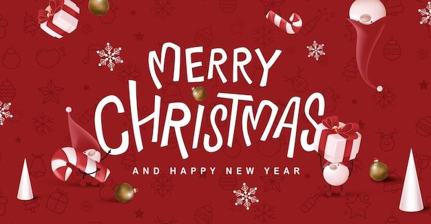 Banner di calligrafia merry christmas con gnomo carino e decorazioni festive per natale
