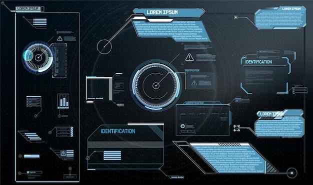 Etichette di callout con titoli in stile hud. elementi dell'interfaccia, ui, gui. modelli di hud delle caselle informative. set futuristico.