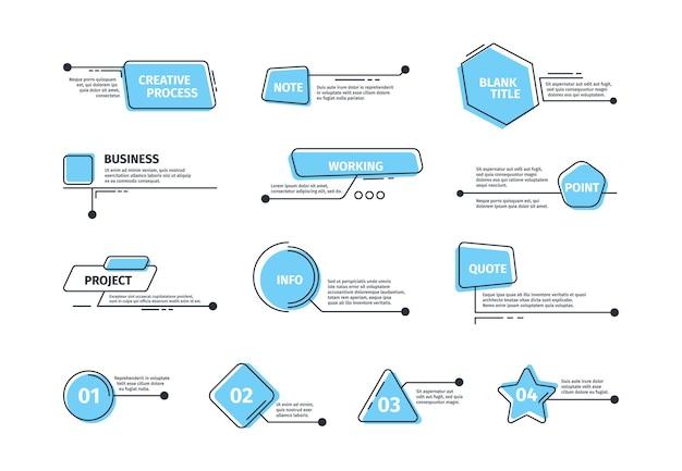 Scatole di callout. cornici digitali per modelli di barre di layout del testo richiami vettoriali immagini grafiche. casella di testo dell'illustrazione infografica, scheda del menu