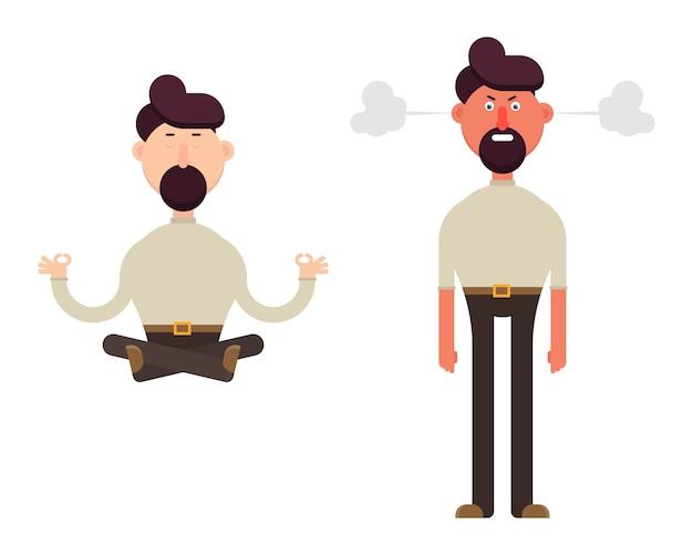 Illustrazione di carattere uomo calmo e arrabbiato isolato su bianco