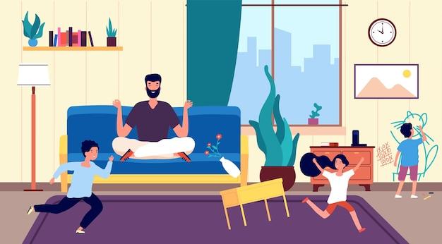 Calmi papà e figli. il padre medita mentre corrono bambini birichini e dispettosi creando il caos nella stanza. persona calmante