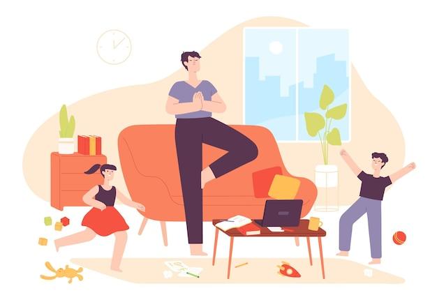 Padre calmo. papà medita in rilassata posa yoga e bambini cattivi nella stanza disordinata. bambini iperattivi e pazienza genitore a casa concetto vettoriale. illustrazione del personaggio del padre a casa, asana meditando