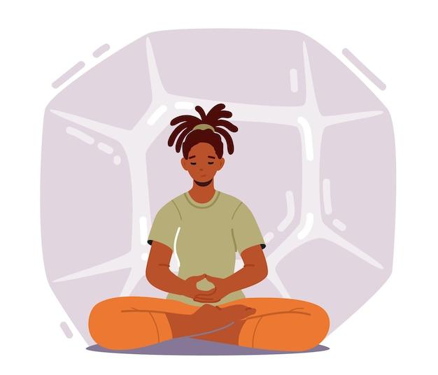 Donna calma che pratica meditazione yoga nella posa del loto per ridurre lo stress e raggiungere il nirvana o lo zen. empowerment, relax