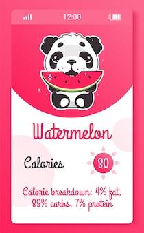 Schermata dell'app mobile per bambini con contacalorie con personaggio kawaii dei cartoni animati. widget da ragazza per smartphone con tracker alimentare, progettazione di applicazioni con orso panda. pagina del telefono del calcolatore di calorie e animale