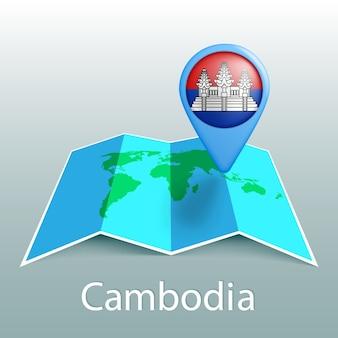 Mappa del mondo di bandiera della cambogia nel pin con il nome del paese su sfondo grigio