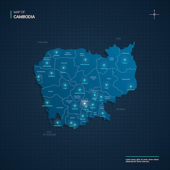 Mappa della cambogia con punti luce al neon blu Vettore Premium