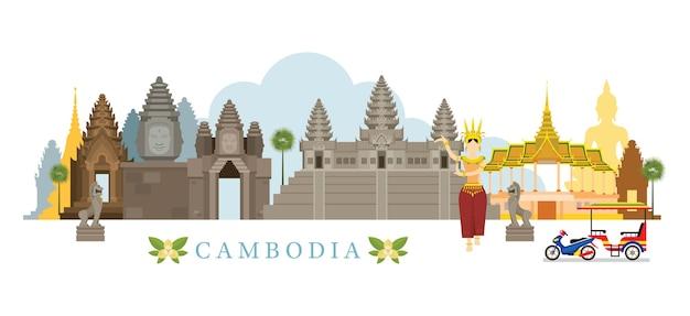 Luoghi d'interesse di skyline della cambogia