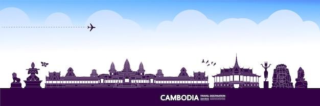 Grande illustrazione della destinazione di viaggio della cambogia.