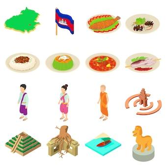 Set di icone di viaggio della cambogia. un'illustrazione isometrica di 16 icone di vettore di viaggio della cambogia per il web