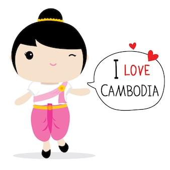 Vettore del fumetto del vestito nazionale delle donne della cambogia