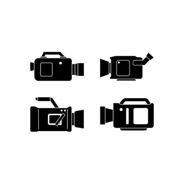 Modello di set di icone della videocamera