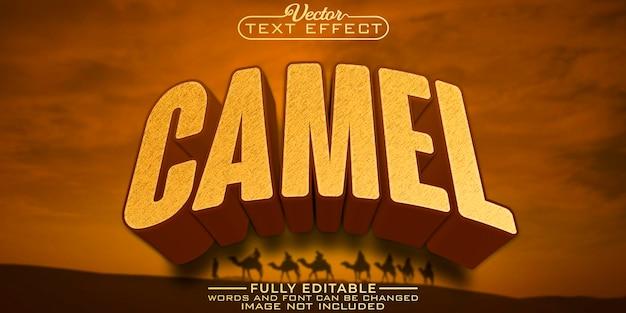 Modello di effetto di testo modificabile nel deserto del cammello