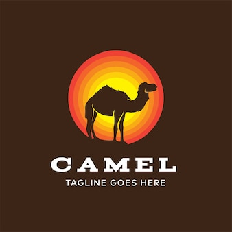 Modello di progettazione di logo di cammello