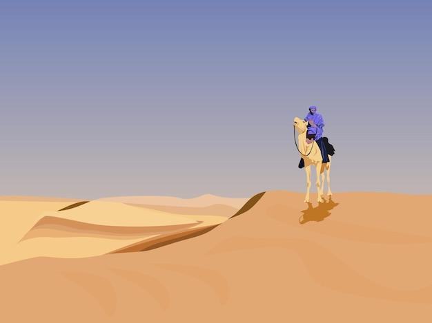 Un cammelliere nel deserto ha uno sfondo di cielo.