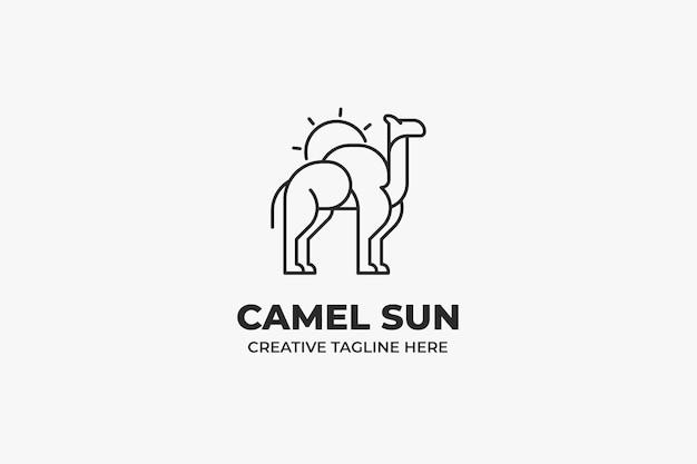Camel sun desert animal monoline logo