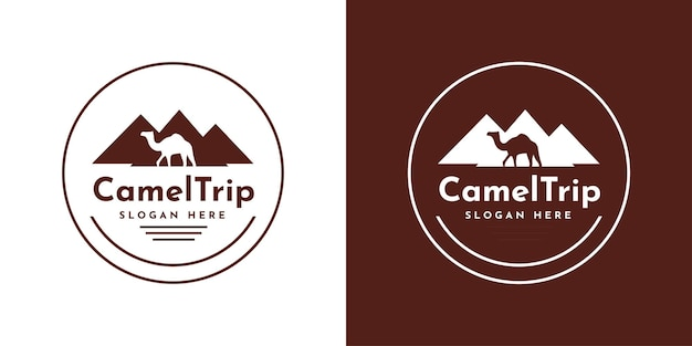 Disegno del modello del logo del viaggio in cammello