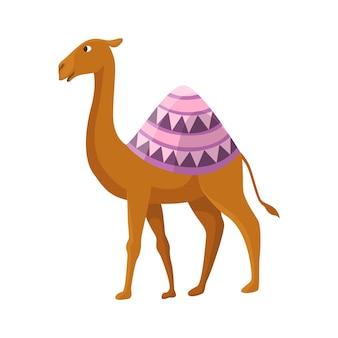 Cammello con una gobba e dromedario. animale del deserto che cammina con la sella decorativa dell'ornamento etnico, vista laterale. vettore dei cartoni animati. disegno dell'icona piatto, isolato su sfondo bianco.