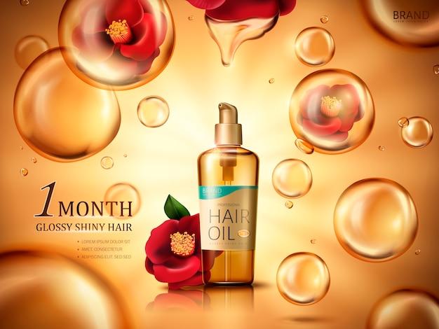 Olio per capelli di camelia contenuto in una bottiglia, con fiori di camelia rossa e gocce di olio dorate, fondo dorato