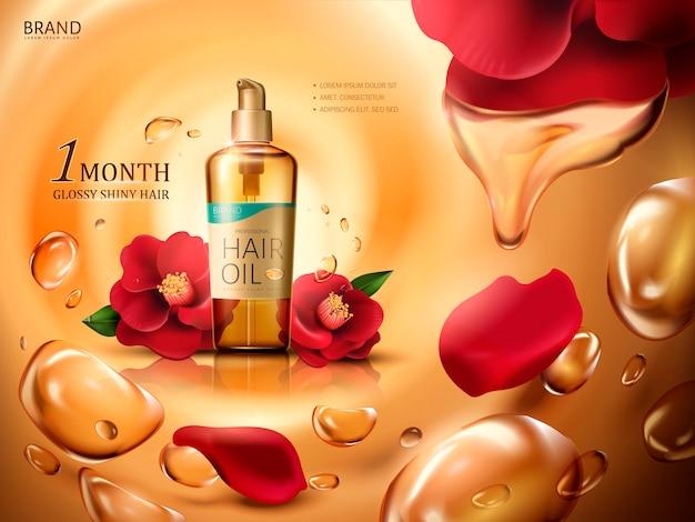 Olio per capelli di camelia contenuto in una bottiglia, con fiori di camelia rossa e gocce di olio vorticose, sfondo dorato