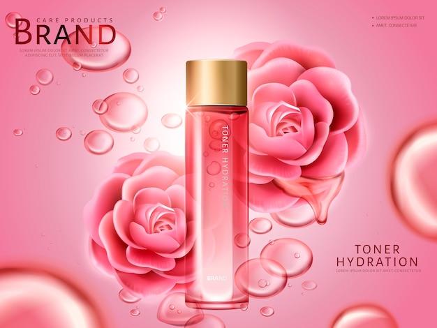 Tonico idratante alla camelia contenuto in un flacone, con fiori di camelia rosa, sfondo rosa
