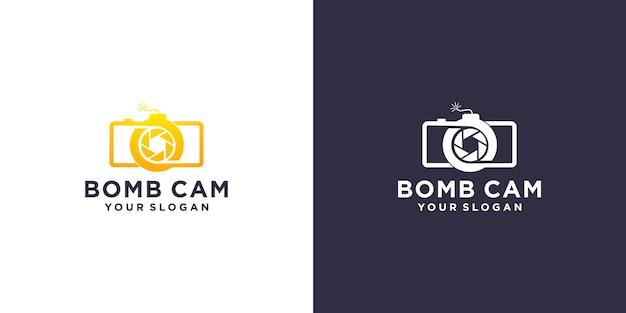 Design del logo della bomba della fotocamera