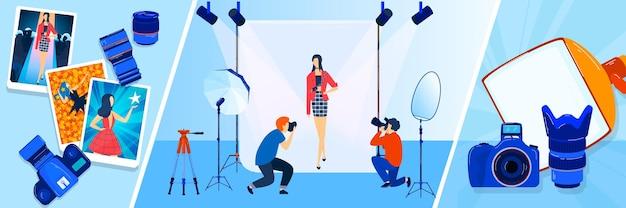 Trasmissione della fotocamera, giornalista, fotografo, set di banner illustrazioni cameraman.