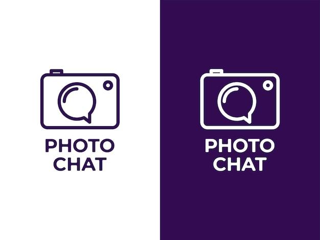 Concetto di design del logo della chat della fotocamera