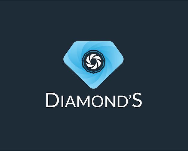 Modello di logo di matrimonio con macchina fotografica e diamante