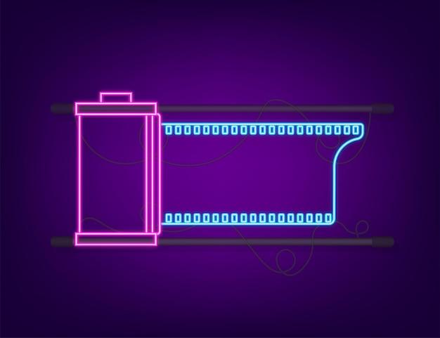 Rotolo di pellicola della macchina fotografica isolato su priorità bassa bianca. icona al neon. illustrazione di riserva di vettore.