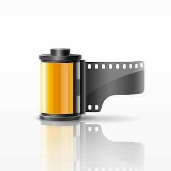 Illustrazione vettoriale di design giallo del rotolo di pellicola della fotocamera