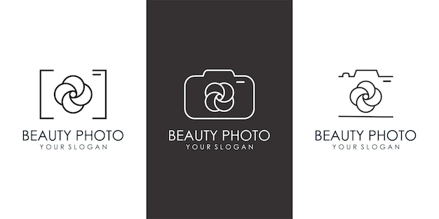 Icona del fiore della fotocamera set logo design fotografia simbolo moderno e semplice vector illustration