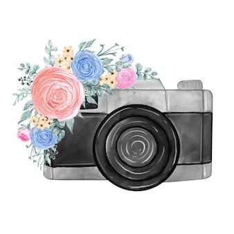 Fotocamera e fiori blu rosa pastello illustrazione ad acquerello