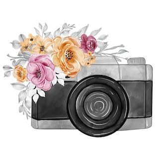 Fotocamera e fiori marrone rossiccio arancione acquerello illustrazione