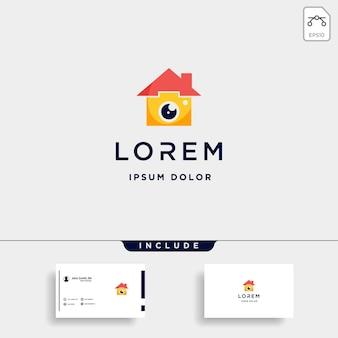 Modello di logo di casa della macchina fotografica vector icon design