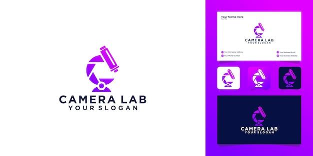 Logo del laboratorio della fotocamera con modello di progettazione di logo di fotocamera e microscopio e biglietto da visita