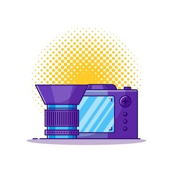 Illustrazione del fumetto della fotocamera e dell'obiettivo. Vettore Premium
