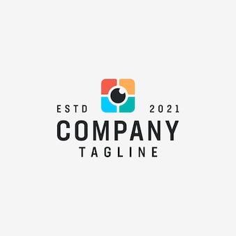 Ispirazione per il logo della fotografia dell'elemento dell'obiettivo della fotocamera Vettore Premium