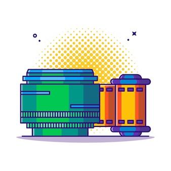 Obiettivo della fotocamera e illustrazione del fumetto del rotolo di pellicola. Vettore Premium