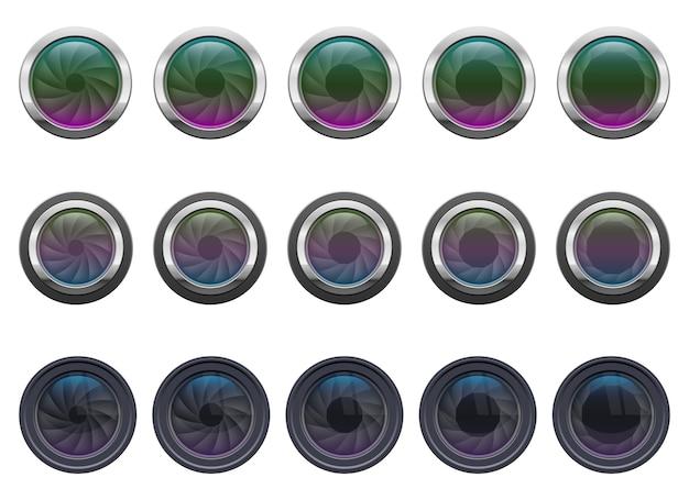 Obiettivo della fotocamera, isolato su sfondo bianco