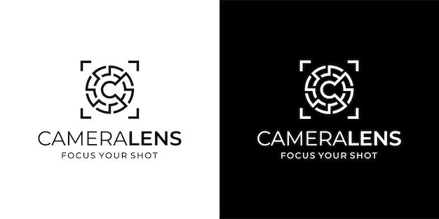Icona di logo di arte linea obiettivo fotocamera con modello di ispirazione di progettazione iniziale c.