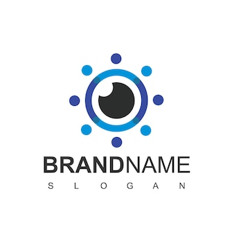 Simbolo della fotografia del logo dell'obiettivo della fotocamera